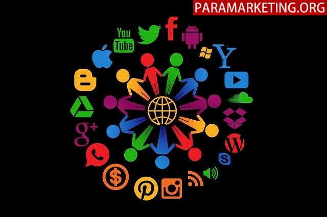 An image of stick figures holding hands, surrounded with different social media logos